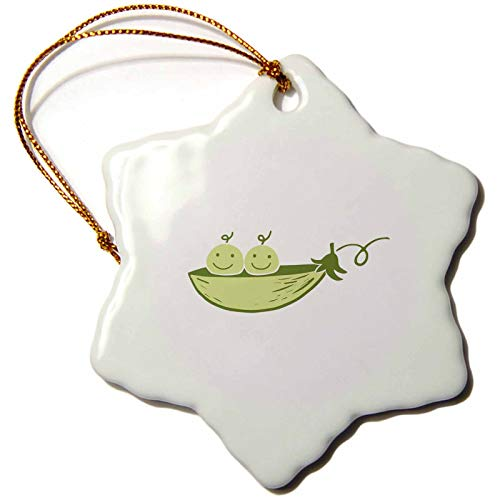 3dRose Picture of Two Peas in A Pod On A White Background Snowflake Ornament, 3