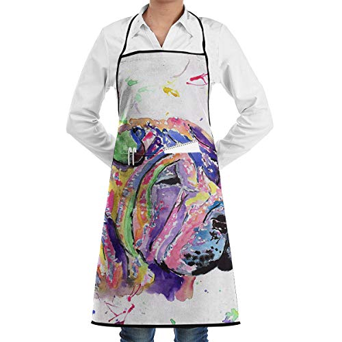Golden Water Cloud Up Unisex Attitude Aprons Fully Adjustable Shar Pei Apron with 2 Pockets Cooking Kitchen Aprons for Women Men Chef