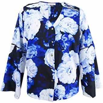 f51989cb06e Calvin Klein Women s Plus Floral-Print Bell-Sleeve Blouse (3X