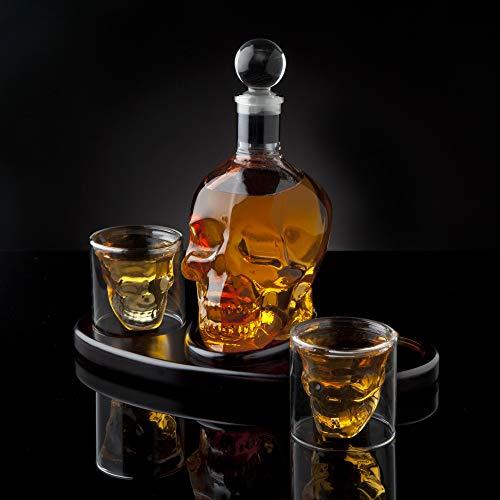 Whiskey Decanter Skull Set with 2 Cocktail Shot Glasses - for Liquor, Scotch, Bourbon or Vodka - 850ml by Godinger (Image #3)