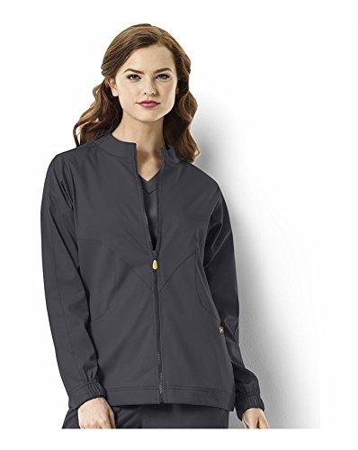WonderWink Women's Plus Size Next Boston Warm Scrub Jacket, Pewter, - Boston Logan Shops