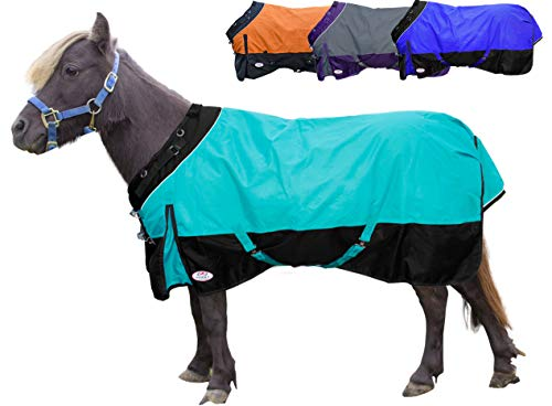 Derby Originals Windstorm Series Premium Mini Horse and Pony Winter Turnout Blanket with 1200D Ripstop Waterproof Nylon Exterior - Heavy Weight 300g Polyfil Insulation (Medium Turnout Weight)