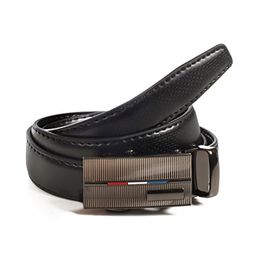 Womens Ratchet Belt, Leather, Automatic Buckle, Adjustable Belt With No Holes by CANDOR AND CLASS (W724 Black, Up To 44 Inch waist)