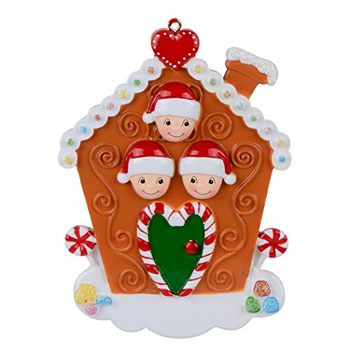 MAXORA Gingerbread House Family of 3 Personalized Christmas ()