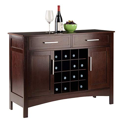 Walnut Buffet Cupboard Kitchen Bottle Holder Wine Rack Sliding Cabinet Doors Storage Organizer Unit Shelf Drawers Display Dining Room Furniture Bar Sideboard - Dining Walnut Sideboard Room