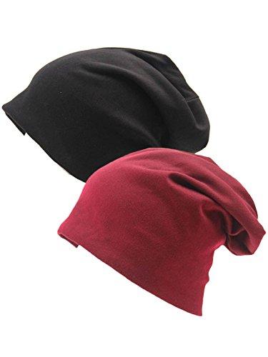 Beanie Cotton Stretch (Century Star Unisex Baggy Lightweight Hip-Hop Soft Cotton Slouchy Stretch Beanie Hat X Black Burgundy 2 Pack)