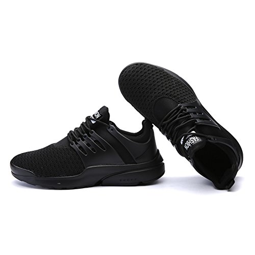 Führershow Männer Casual Breathable Sportschuh Athletic Lace Up Fashion Sneakers Schwarz