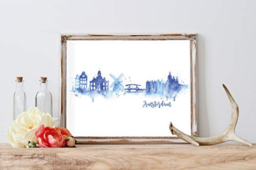 Amsterdam Silhouette Watercolor Home Print