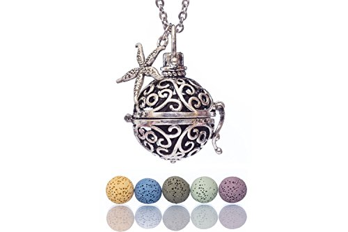 Essential Oil Necklaces for Women Lava Stone Personal Diffuser Sphere Locket Pendants for Aromatherapy Oils Healing, 24