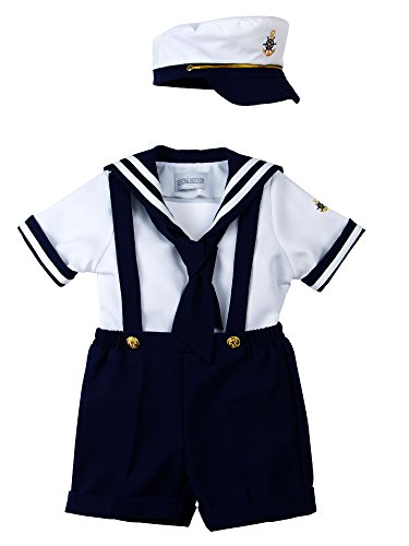 Spring Notion Baby Boys Sailor Set with Hat Style-B Medium/6-12M, Navy Blue