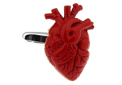 MRCUFF Heart Doctor Surgeon Red Pair Cufflinks in a Presentation Gift Box & Polishing Cloth