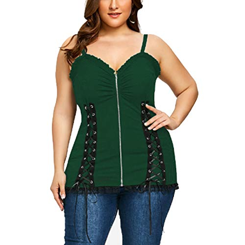 En V Green Cremallera Spaghetti Sin Tank Mujeres Chaleco Up Strap Con Top Cuello Cami Mangas Lace qgUwPxqv