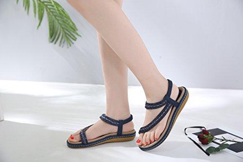 des Sandales D'été Femmes Ruiren de Bohème de de Strass Plates pour Bleu Dames Chaussures dWaa4Pzq