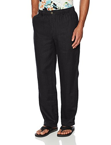 "28 Palms Men's Linen Pant With Drawstring, Black, Medium/32"" Inseam"