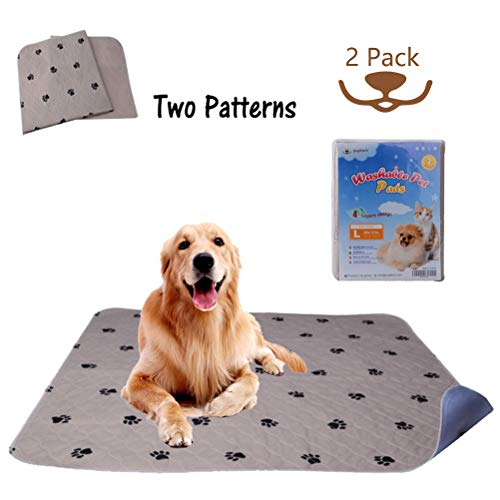 """PUPTECK 2 Pack Reusable Dog Pee Pads - Waterproof and Washable for Your Pet Training Housebreaking- Size Large:36"""" x 41"""""""