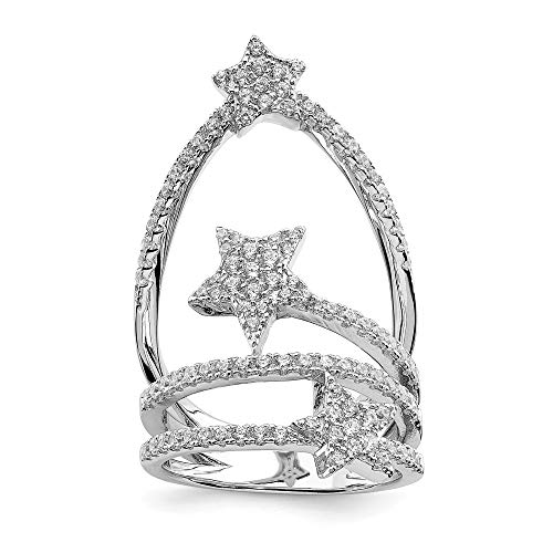 925 Sterling Silver Cubic Zirconia Cz Star Band