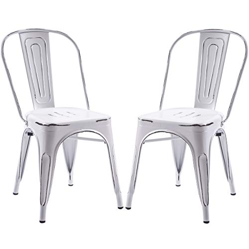 Merax High Back Steel Stackable Vintage Metal Dining Chair Set of 2 (Antique White)