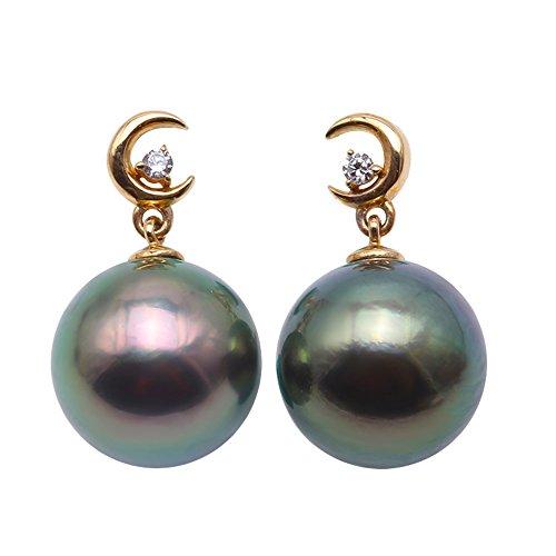 JYX Pearl 14K Yellow Gold 11mm Round Peacock-green Seawater Cultured Pearl Tahitian Pearl Dangle Drop Earrings