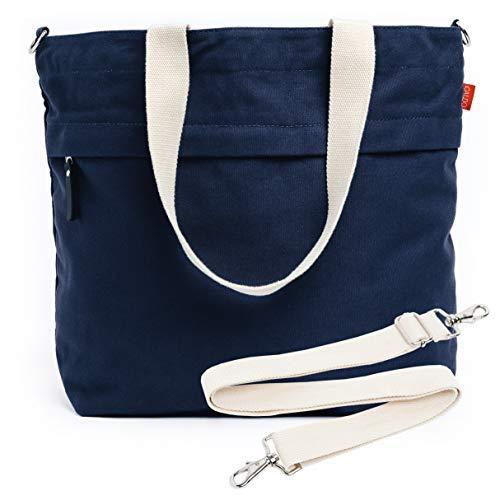 Caldo Canvas Market Tote - Large Travel Bag with Outer Zipper Pocket and Adjustable Shoulder Strap (Navy) ()