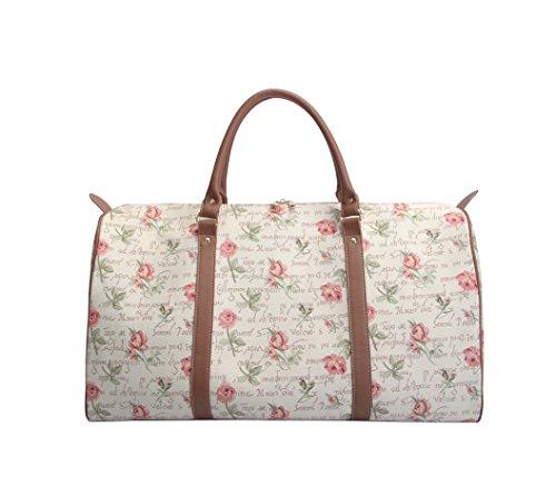 Modische grosse Reisetasche fuer Damen aus Leinengewebe, perfekte Wochendtasche, im Signare Stil Pinke Rose
