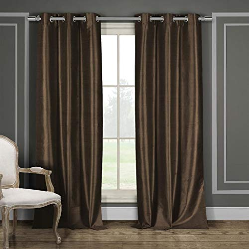 Duck River Textiles - Home Fashion Solid Faux Silk Grommet Top Window Curtains for Living Room & Bedroom - Assorted Colors - Set of 2 Panels (38 X 84 Inch - Brown) ()