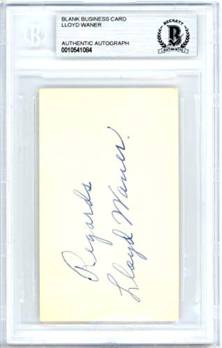 (Lloyd Waner Autographed 2x3.5 Blank Business Card Pittsburgh Pirates Vintage Playing Days Signature Beckett BAS #10541084)