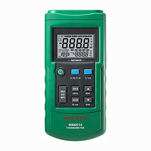 Mastech MS6514 Dual Channel Digital Thermometer Tester USB (0.1 Ct Channel Set)