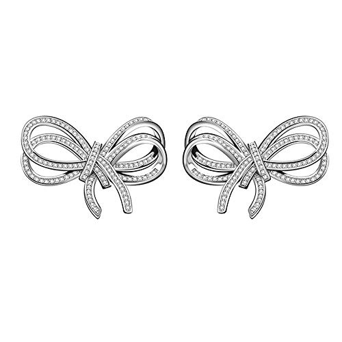 Onefeart Platinum Plated Stud Earrings For Women Round Cubic Zirconia Rosette Design Ladies Style Earrings 23X16MM White Gold