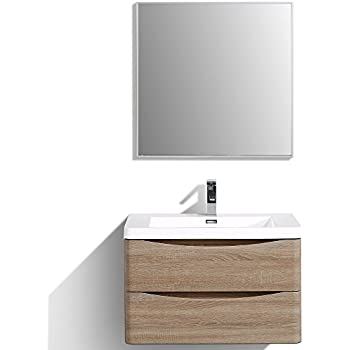 bella modern bathroom vanity set 71 smile oak wall mount with integrated acrylic sink white contemporary italian huntington