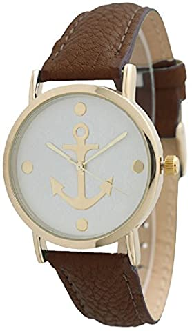 Women's Geneva Anchor Style Leather Watch - Brown (Brown Leather Geneva Watch)