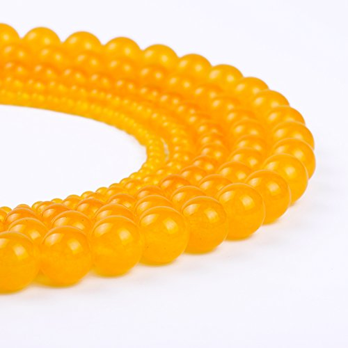 Natural Stone Beads Round Jade Loose Beads Bulk For Jewelry Making 4MM, 6MM, 8MM, 10MM ,12MM (8MM, orange yellow)