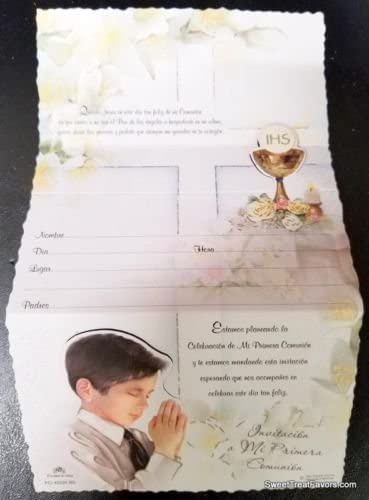 DPW First Communion Party Invitations English Invitaciones Gold Chris Primera Comunion Fiesta 10PC