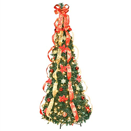 HOLIDAY PEAK 6 ft Christmas Spruce Prelit Poinsettia Pull Up Tree (Christmas Tree Snap Together)