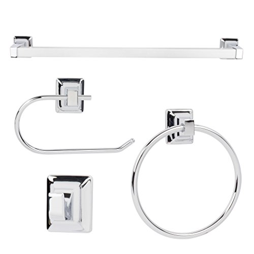 LDR Industries 4 Piece Bathroom Accessory Set by Exquisite | Modern Design, Includes 18