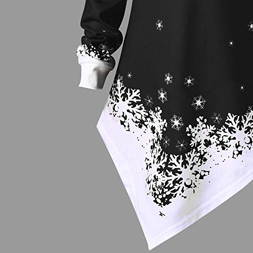 TIREOW Damen Große Größe Gedruckt Oberteile, Weihnachten Schneeflocke Drucken Sweatshirts Langarm Schulterfrei Bluse Langer Casual Unregelmäßige Tops
