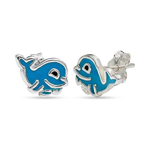 (LeCalla Sterling Silver Jewelry Blue Enamel Stud Dolphin Earrings for)