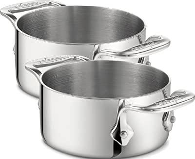 All-Clad 59914 Stainless Steel Dishwasher Safe 0.5-Quart Soup / Souffle Ramekins Cookware Set, 2-Piece, Silver