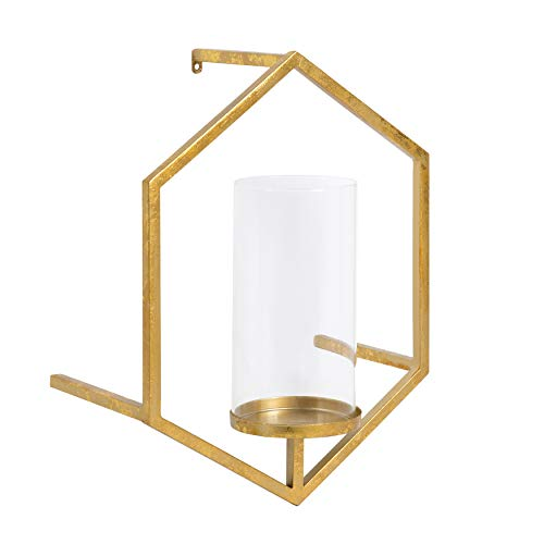 (Kate and Laurel Curran Hexagon Metal Sconce Wall Candle Holder, with Glass Pillar, Gold)