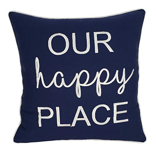 EURASIA DECOR DecorHouzz Pillowcase Farmhouse Embroidered Home Throw Pillow Cover Funny Quote Cushion Cover for Housewarming Guest Porch Wedding Anniversary Couple (18X18, Our Happy Place(Navy))