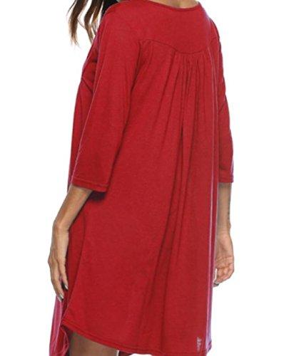 Autunno Lunghezza Tasto Rosso Vestito Del Oscillare donne Inverno 4 Ginocchio Coolred Allentato 3 Manica qwEapO