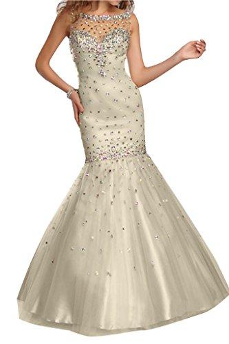 Meerjungfrau Tuell Abendkleid Damen Champagner Steine Stil Ivydressing zUSaC