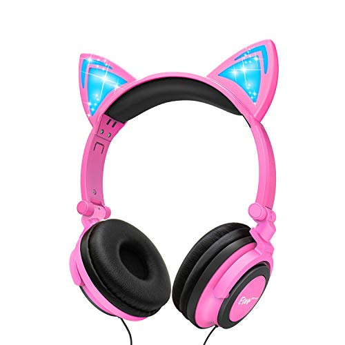 Esonstyle Kids headphones Over Ear with LED Glowing Cat Ears,Safe Wired Kids Headsets 85dB Volume Limited, Food Grade Silicone, 3.5mm Aux Jack, Cat-Inspired Pink Headphones for Girls Boys (black+pink)