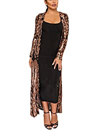 Fashion Cluster Womens Cover Up Long Sleeve See Through Sequins Open Front Cardigan Coat Dress