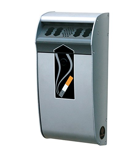 Mount Smoking Receptacle - Glasdon Mini Ashmount Wall Mounted Cigarette Butt Receptacle - Silver Anodized Aluminum - 0.4 Gallon Capacity