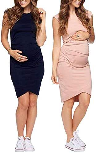 Women's Sleeveless Midi Maternity Dress Cozy EUR-Style Print Dress for Pregnant