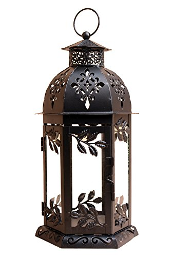 Tandi 6 Panels Decorative Glass Metal Candle Holder Lantern 11 Inch High , Black Large (Candle Black Glass)