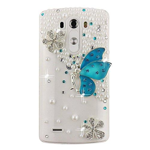 STENES LG G3 Stylus D690 Case - Luxurious Crystal 3D Handmade Sparkle Glitter Diamond Rhinestone Ultra-Thin Clear Cover With Retro Bowknot Anti Dust Plug - Snow Butterfly/Blue (Lg G3 Phone Case With Rhinestones)