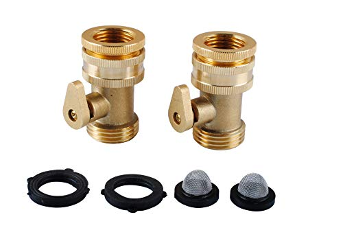 Podoy Heavy Duty Brass Shut Off Valve Garden Hose Connector with Shut Off for Garden Nozzle & Watering Tools & Faucet/Spigot (2PCS)