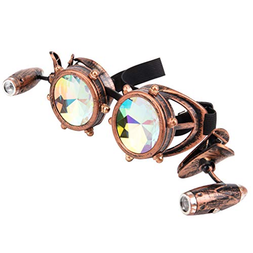 Barbed Wire Steampunk Goggles Kaleidoscope Rave Glasses Vintage Punk Gothic Cosplay