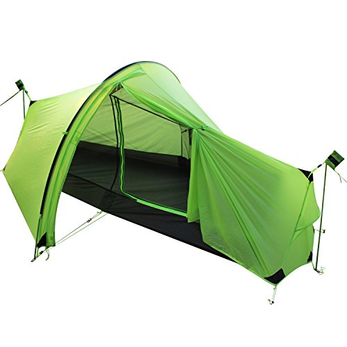 Andake 1206G Luxury Roomy One Man Tent, Waterproof Compact Tunnel Tent Portable Camping Tent 15D Ripstop Fabric Designed for Professional Outdoor Enthusiast Esp. for Comfortable Shorter Hikes